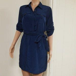 Ladies navy collared dress